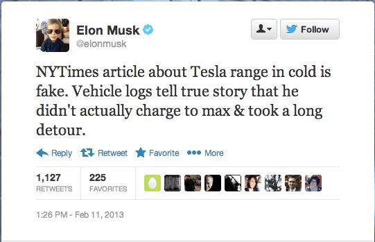 Elon Musk Tweets about John Broder Review