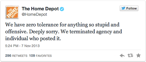 Home Depot Apology