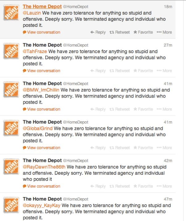 Home Depot Apology Tweets