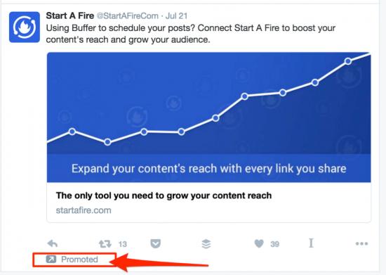 Start a Fire's Twitter ad