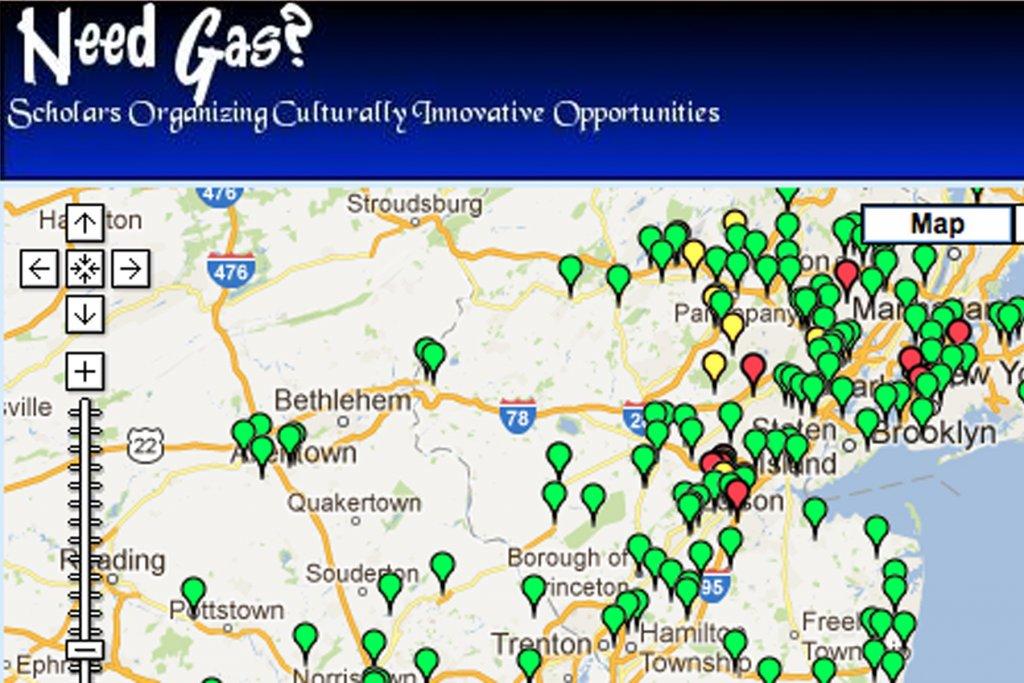 Hurricane Sandy Gas Map