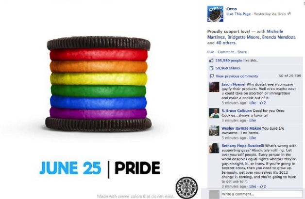 Oreo cookie with rainbow-stacked filling