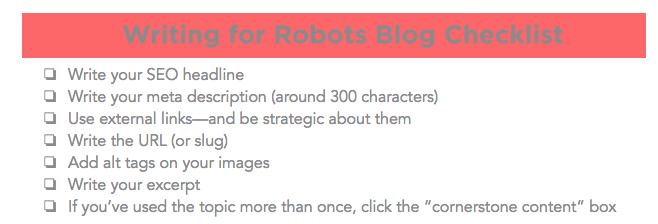 Blog Checklist: Writing for Robots