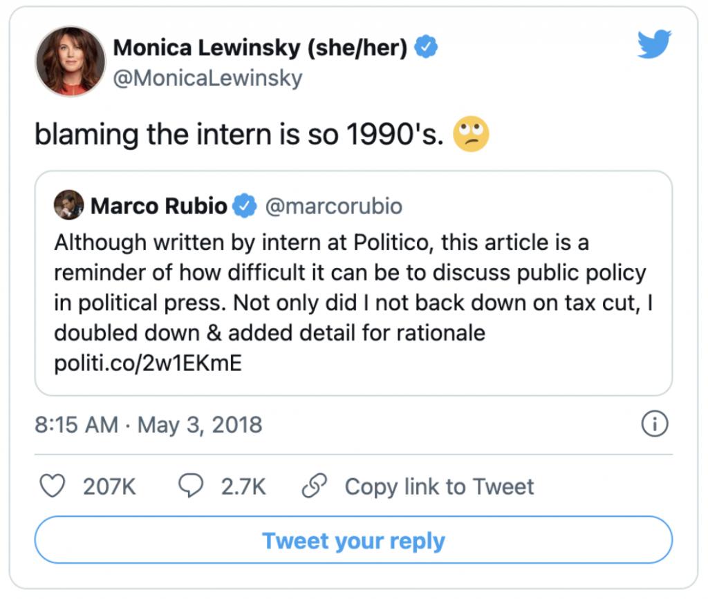 Monica Lewinsky Blaming the Intern Tweet